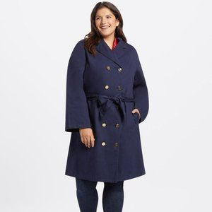 NWT Draper James Naussau Navy Trench Coat sz 2X